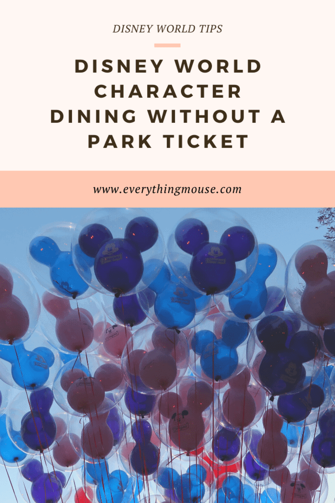 disney world character dining without a ticket