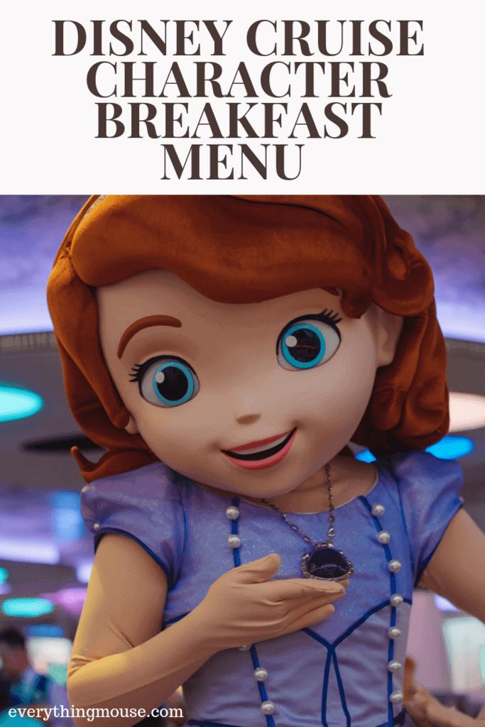Disney Cruise Character Breakfast Menu