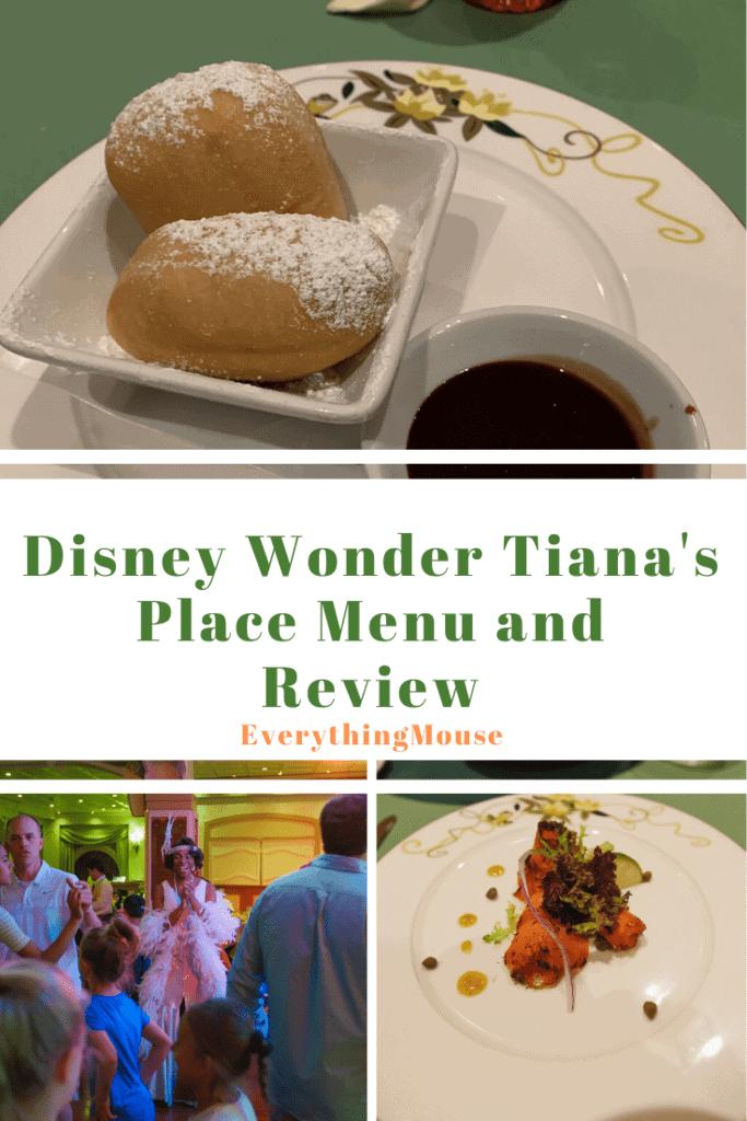 Disney Wonder Tiana's Place Menu and Review