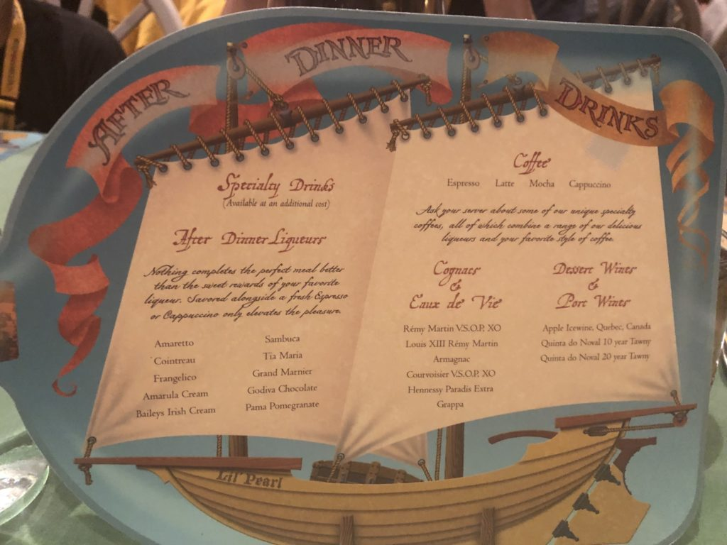 Disney Cruise Pirate Night Dessert Menu