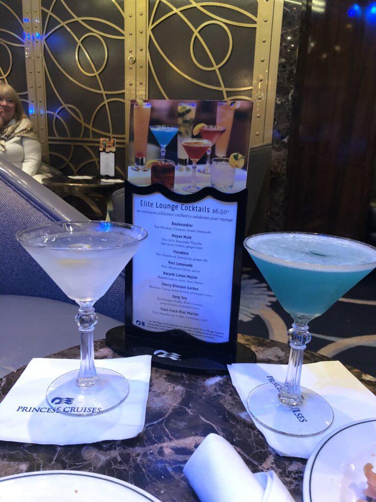 princess cruise elite lounge drinks